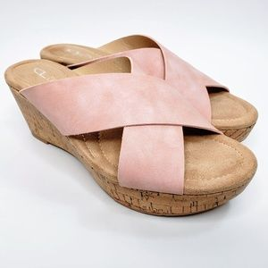 NWOB CL by Laundry Cross Strap Wedge Shoes - 8.5